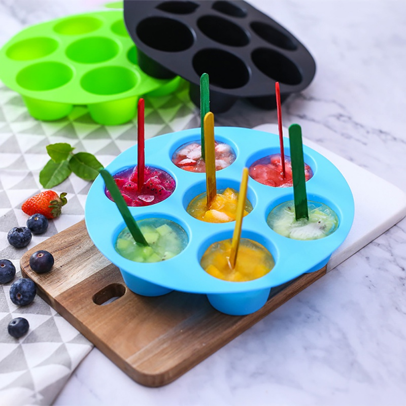 Silicone Egg Cake Mold 7 Hole Round Mold Cake Grid Egg Steam Mold Air Fryer Accessories FDA Safe Reusable Storage Container