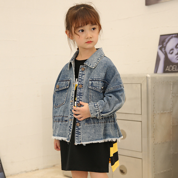 Spring Children's Korean Jackets 3-12 years old Solid Turn-down Collar Kids Clothes Long Sleeve Autumn Girls Denim Coats