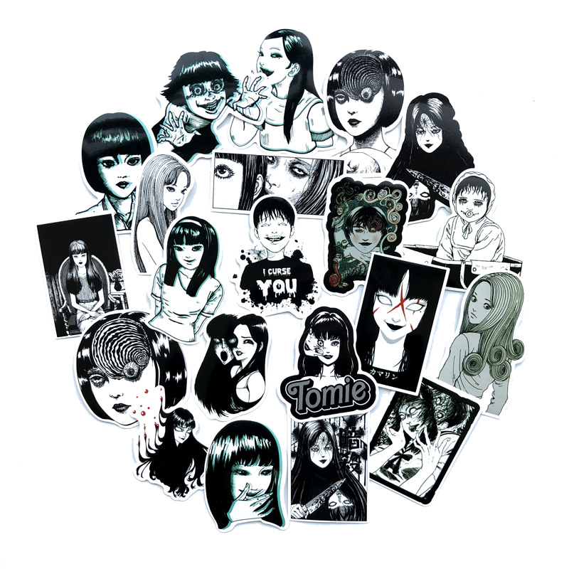 21 Pcs Horror Comic Fujiang Black And White Thriller Horror Style Toy Sticker Luggage Trolley Laptop Sticker Doodle Sticker