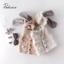 Г. Осенне-зимняя одежда для малышей Теплый жилет для маленьких девочек, пальто нечеткая одежда без рукавов+ шапка с длинными ушками, комплект из 2 предметов, жилет