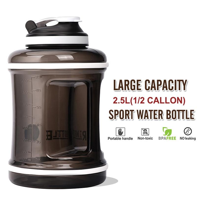 Тренажерный зал Waterbottle большой емкости для спортивных бутылок 2.5L 1/2 галлонов BPA бесплатно шейкер для протеина Пластик Фитнес для бега на отк...