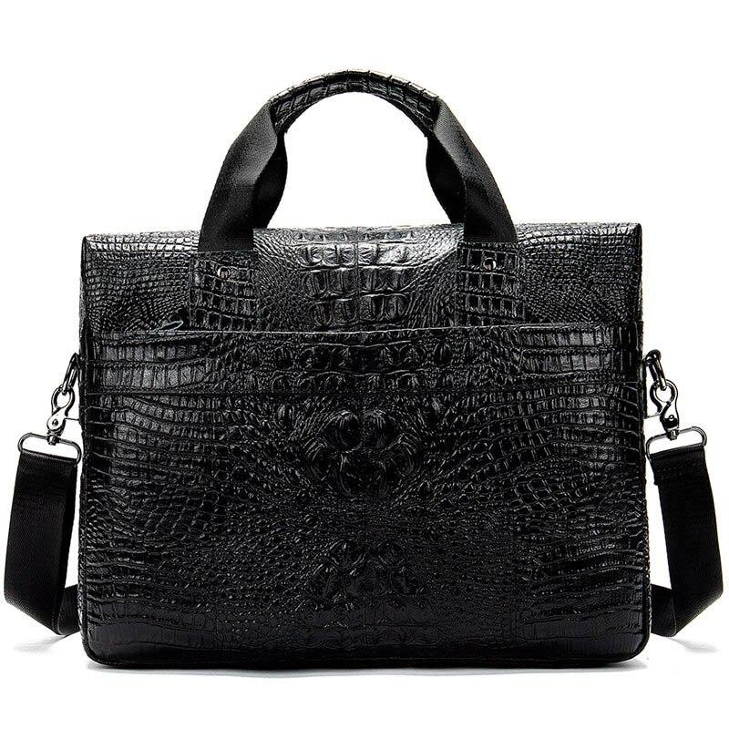 WESTAL Men s Briefcases for 14inch Laptop Crocodile Pattern Messenger Bag Men Leather Work Office Bags