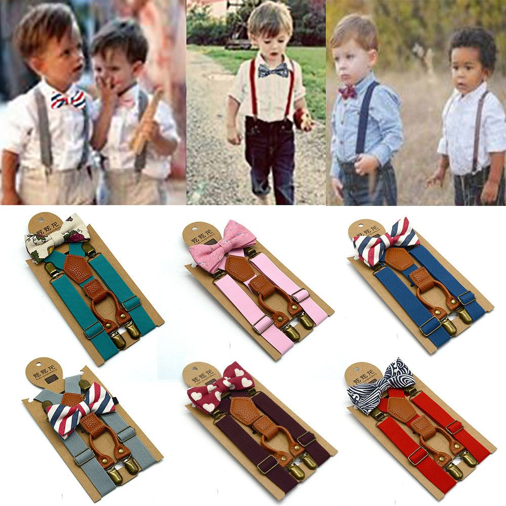 Kids Elastic Suspenders Bow Tie Set Matching Tuxedo Suit Unisex Boy Girl Bowtie Wedding Costume Adjustable Y-Back Brace Belt