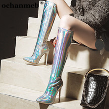 Shoes Holographic-Mirror Stiletto Heels Dancing-Boots Pointed-Toe Knee Silver Female