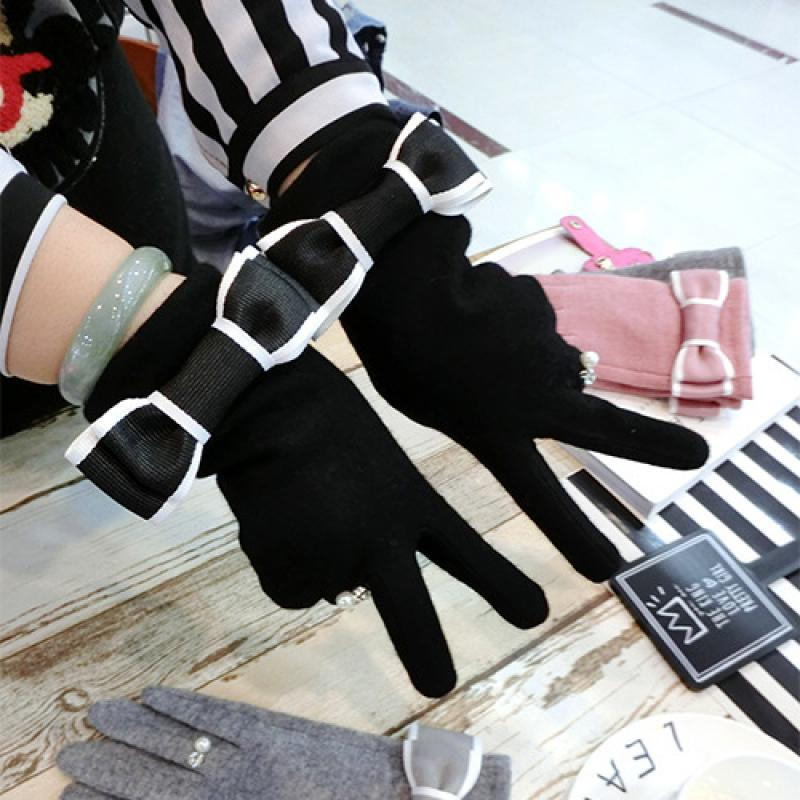 Ring Cashmere Bow-Knot Side Finger Gloves Xiaoxiangfeng New Korean Fashion Winter Thickening Warm Touch Screen Gloves