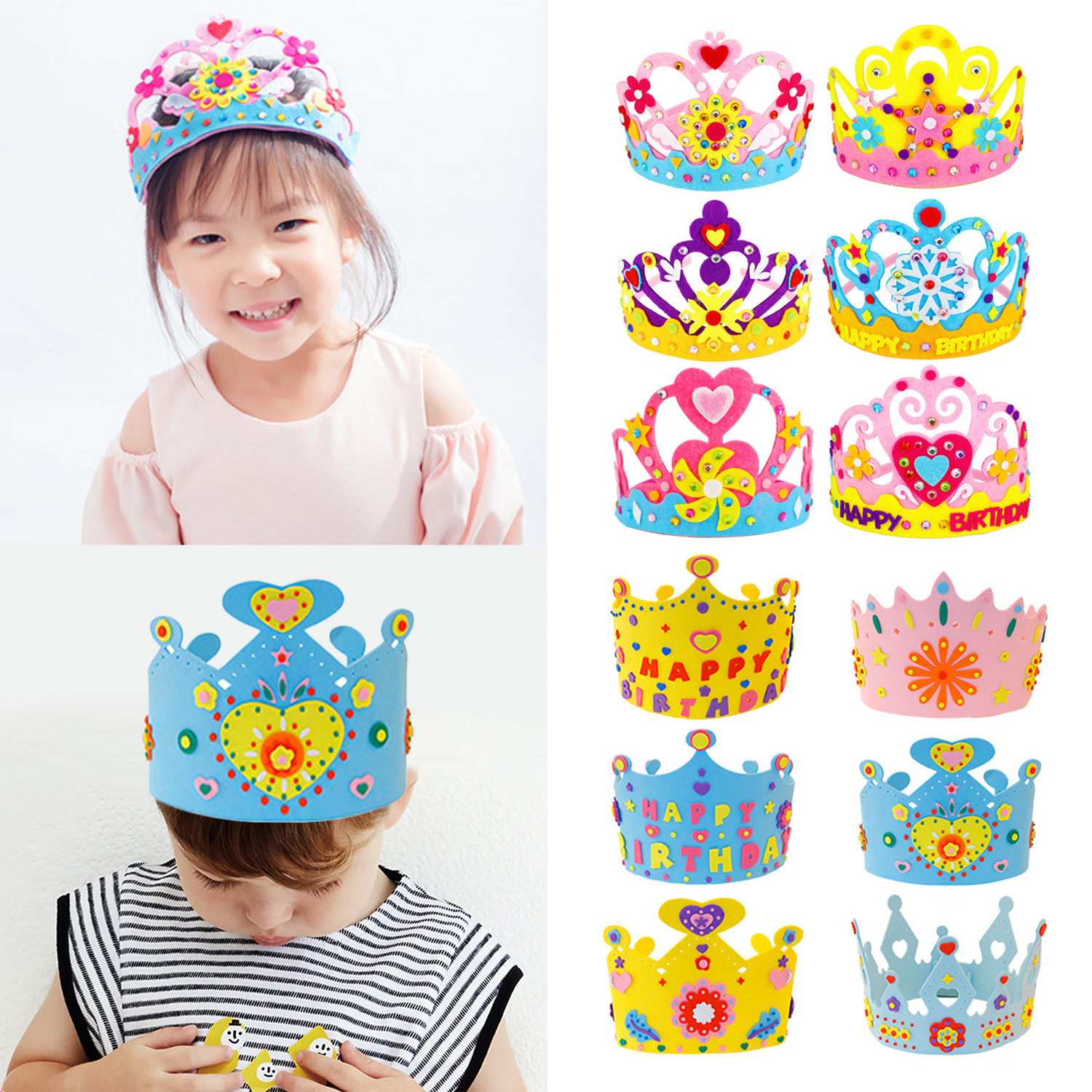 Handmade Foam Paper Sequins Crown Kit Birthday Tiaras Hat Material DIY Craft Toy For Children Kid Party Decorations Random Style