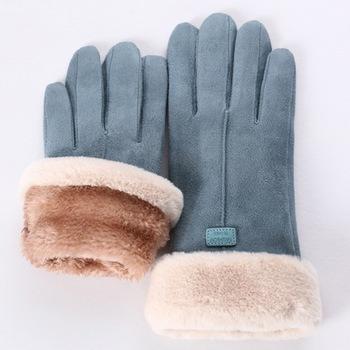 Nowe modne rękawiczki damskie jesienno-zimowe śliczne futrzane ciepłe rękawiczki pełne mitenki damskie Outdoor Sport na rękawiczki damskie tanie i dobre opinie Puimentiua Stałe DO NADGARSTKA Dla osób dorosłych CN (pochodzenie) WOMEN POLIESTER moda Womens Solid Full Finger Hand Outdoor Sport Warm Gloves