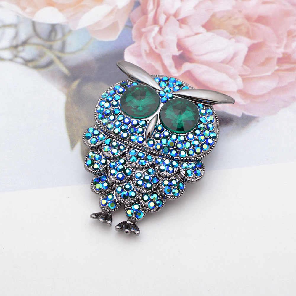 Cindy Xiang Berlian Imitasi Biru Warna Burung Hantu Bros Hewan Fashion Bros untuk Wanita Musim Gugur Perhiasan Mantel Aksesoris Burung Pin Hadiah