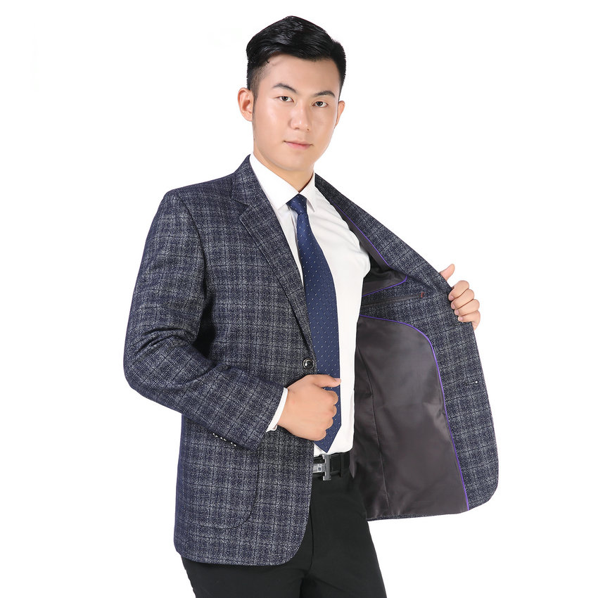 Autumn Spring Man Elegant Blazer Gray Blue Small Plaid Checked Suit Jacket Male Business Casual Notchec Collar Blazer Outfit Men