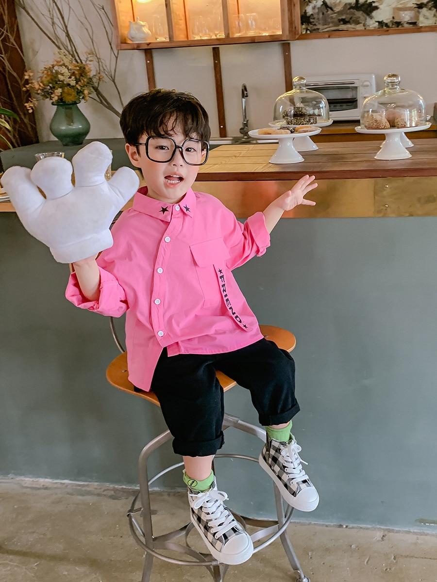 Boy's Cotton Long-Sleeved Shirt Fashion Big Boy Boy's Baby Shirt Children's 2021 New Style Autumn Coat 3