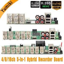 5 em 1 4CH/8CH/16CH 1080N AHD DVR Segurança Vigilância CCTV Gravador de DVR Placa DVR Híbrido Para CVI TVI AHD analógico IP