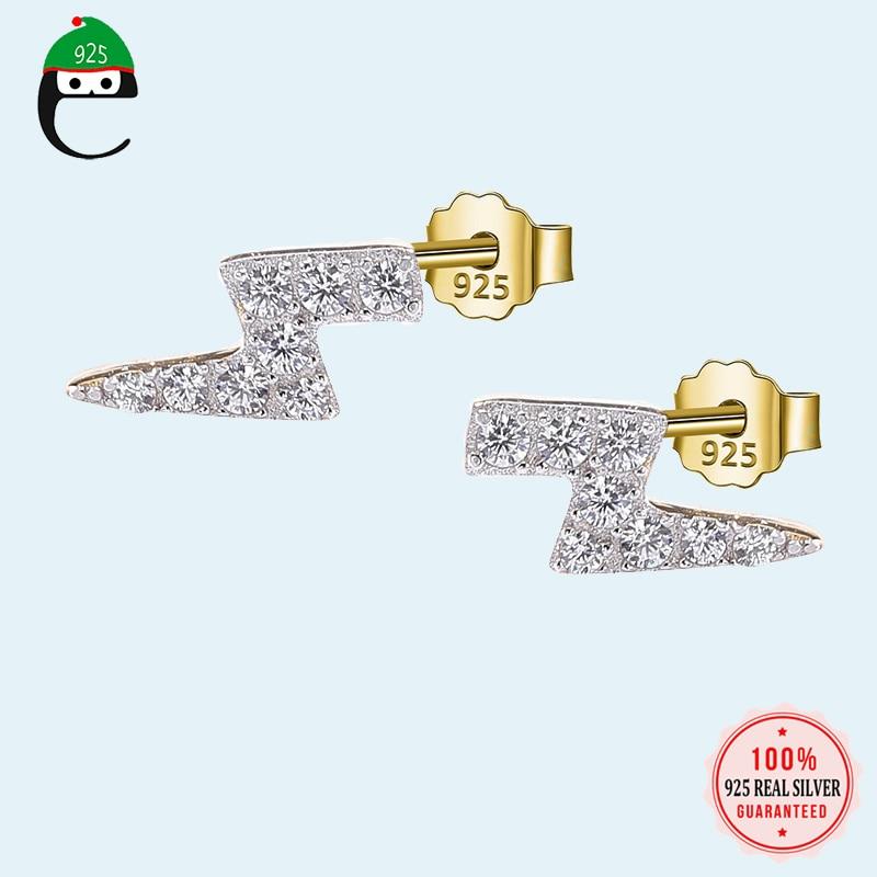 ElfoPlataSi Genuine 925 Sterling Silver Minimalist Gold Lightning Dazzling CZ Stud Earring For Women Fine Jewelry Brincos DS1812