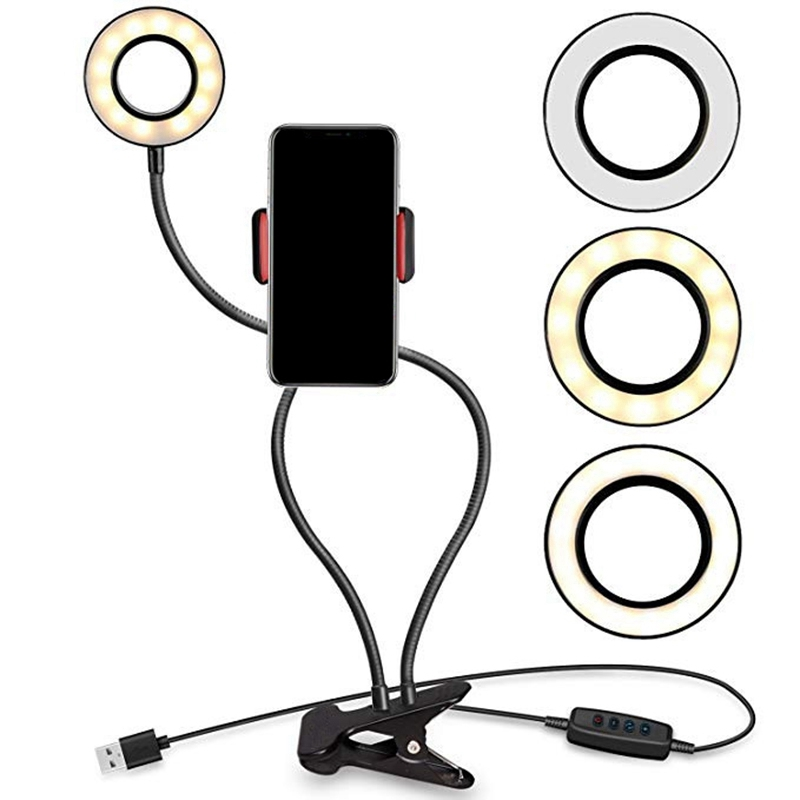 Suitable for Live Makeup Lighting Portable Phone Holder with Led Light,360/° Rotary Dimming Lazy Mobile Phone Holder Black