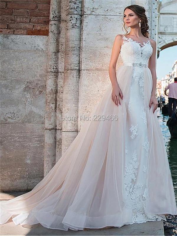 2019 Mermaid Wedding Dress Long Detachable Train Marriage Dress O-neck Vestido De Noiva Lace-up Hole Back Sashes Robe De Soiree