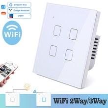 Interruptor de pared con luz táctil y WIFI para el hogar, interruptor de pared con luz LED blanca, azul, Control Universal para teléfono inteligente, 4 entradas, relé de 2 vías, cuadrado, Alexa y Google Home