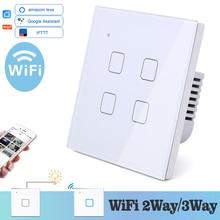 WIFI dotykowy przełącznik do montażu ściennego białe szkło niebieski LED uniwersalny inteligentny telefon domowy sterowania 4 Gang 2 Way przekaźnik plac Alexa Google domu