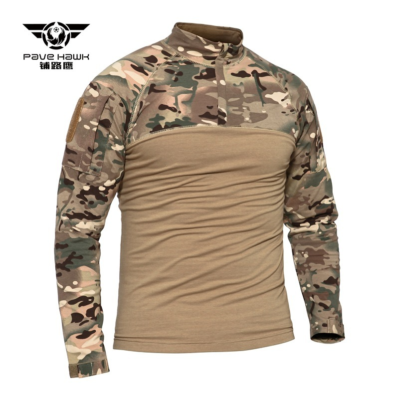 4XL Camouflage Tactical Shirt Army Fans Field Training Military Uniform Clothing Outdoor Hunting Camping Hiking Shirts Knit Tops