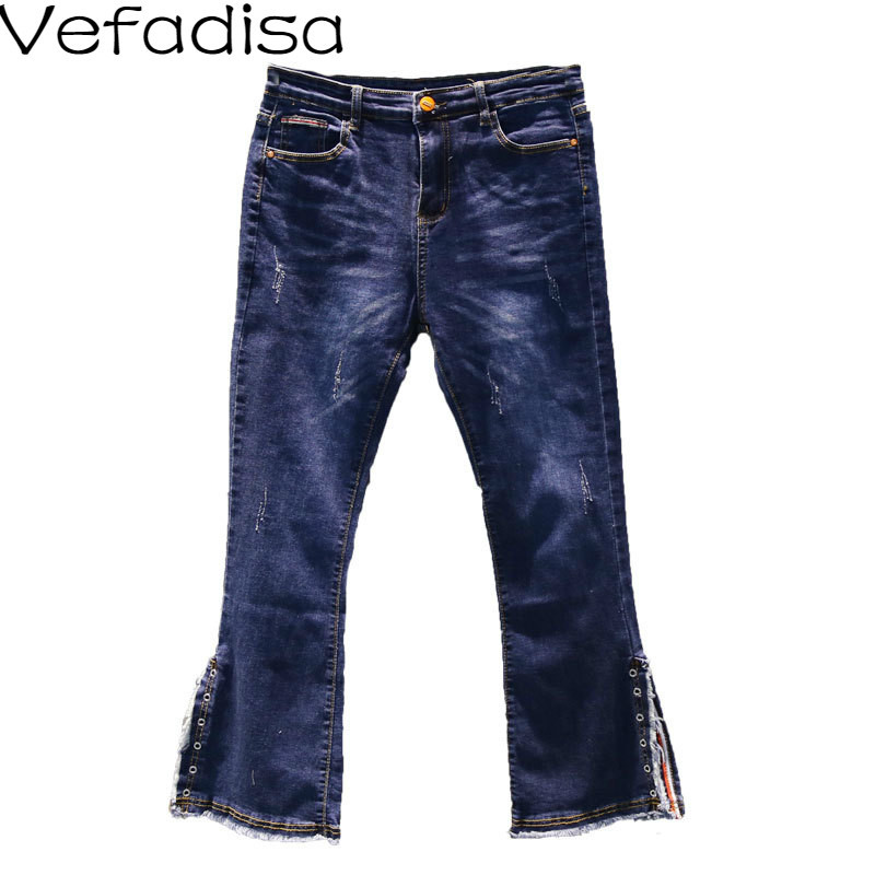 Vefadisa Autumn Casual Solid Pattern Jeans Loose Low Wide Leg Pants Zipper Fly Full Length Woman Pants 2019 QYF271