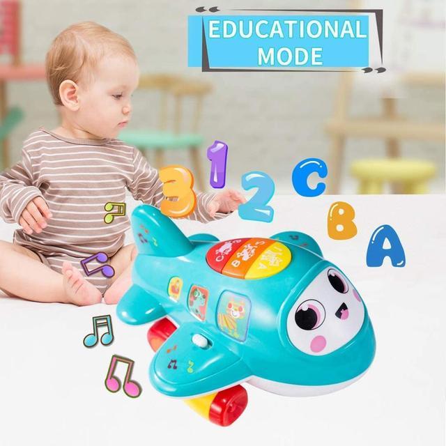 Juguetes de avión de bebé HISTOYE para 1 año de edad, juguete electrónico de avión Musical para niños pequeños Juguetes educativos de aprendizaje temprano para niños