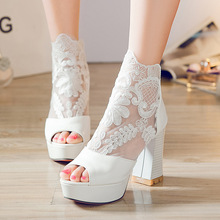 New Women Thick with Sandals High Heel Lace Flowers Zipper Fish Mouth Sandals Women stylish women s sandals with flowers and black colour design