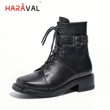 HARAVAL Winter Women Ankle Boot Luxury Genuine Leather Square Toe Thick Heel Shoes Lace-up Soft Buckle Stylish Martin Boots B222