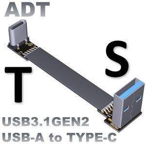 Cable de extensión de esquina USB3.1 macho A hembra línea de extensión plana A hembra A C tipo macho A c cable de extensión de transferencia de esquina 10G/bps USB3.1cable