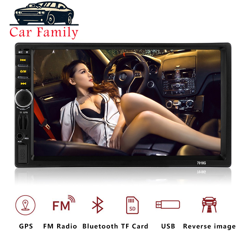 <font><b>7018G</b></font> <font><b>2</b></font> <font><b>Din</b></font> Auto Car Multimedia Player GPS Navigation 7'' HD Touch Screen MP3 MP5 Audio Stereo Car <font><b>Radio</b></font> Bluetooth FM USB image