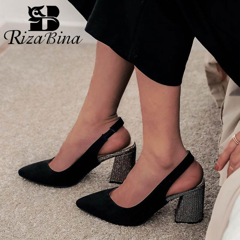 RIZABINA Plus Size 32-46 Women Pumps New Spring High Heels Shoes Women Sexy Pointed Toe Wedding Dance Party Bling Heels Footwear