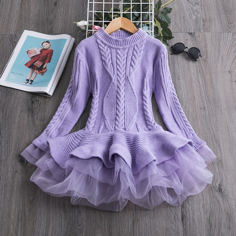 Hd3819a5f5cc041429400d39e170d12237 2019 Winter Knitted Chiffon Girl Dress Christmas Party Long Sleeve Children Clothes Kids Dresses For Girls New Year Clothing