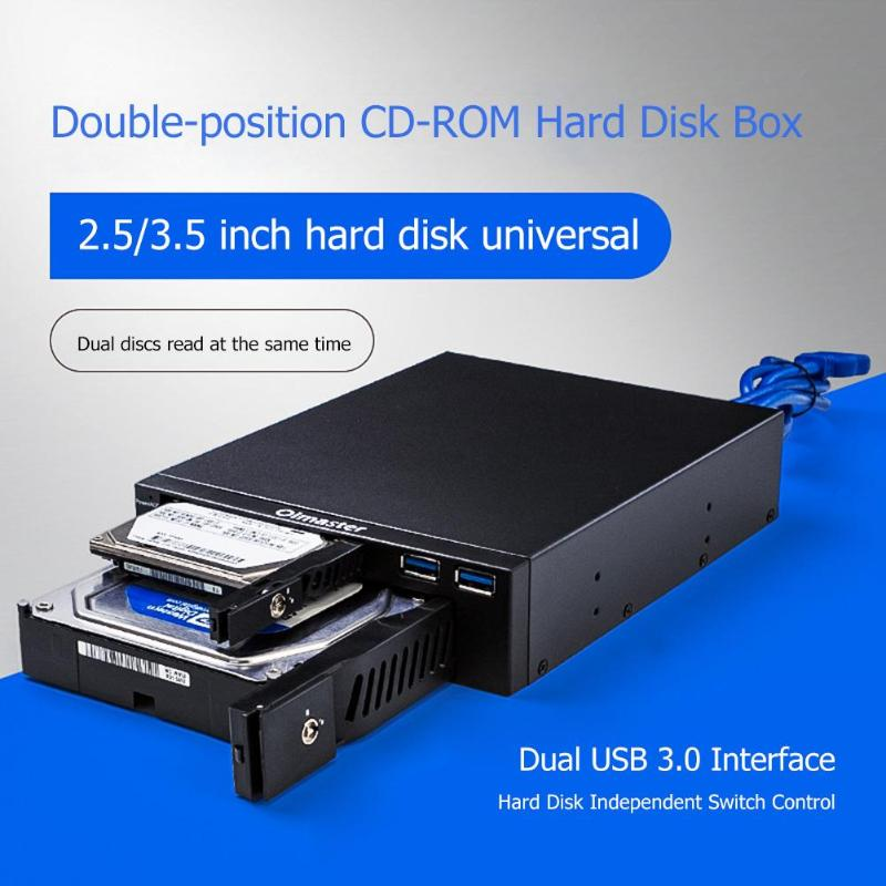 Oimaster Dual Optical Drive Mobile Rack Station Hard Disk Enclosure 2.5/3.5 Inch Internal HDD SSD Case Box For Desktop PC Newst
