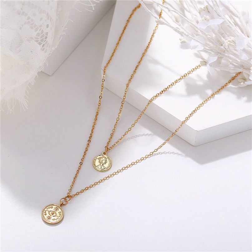 New Fashion Jewelry Pentagram Pendant Clavicle Chain Vintage Star Crescent Three-Layer Women Necklace Choker 4O24 (13)