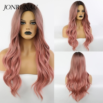 JONRENAU Synthetic Long Wavy Dark Root Ombre Pink Cosplay Wigs for Black White Women Colorful Fiber Hair Wigs High Temperature