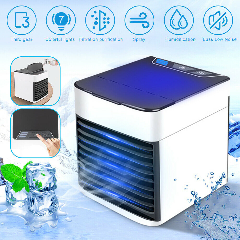Home Mini Air Conditioner Portable Air Cooler 7 Colors LED USB Personal Space Cooler Fan Air Cooling Fan Rechargeable Fan Desk