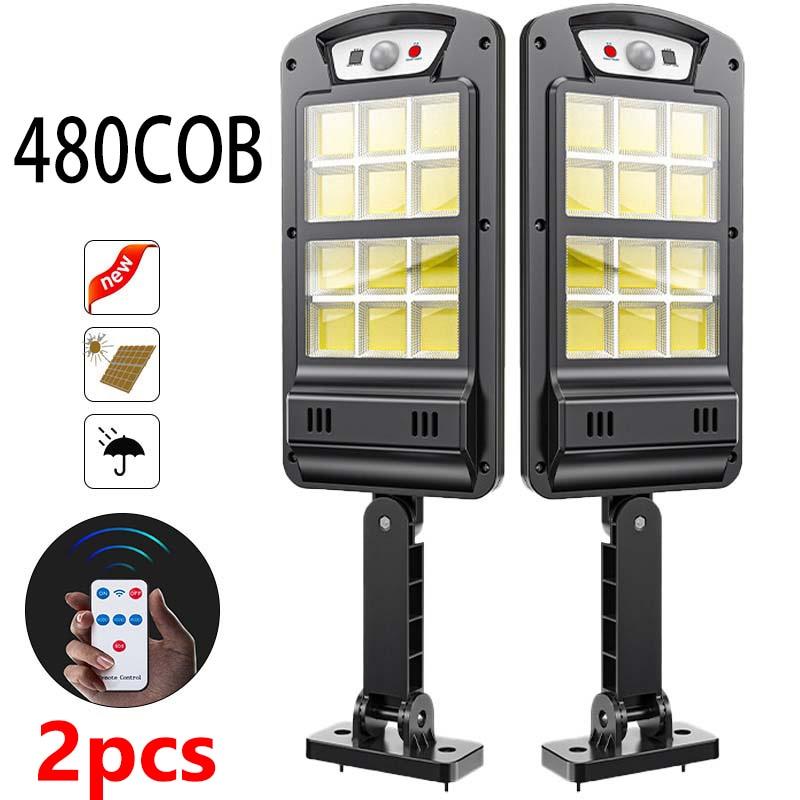 2pcs Super Bright Solar LED Light Outdoor With Remote Control Waterproof Wireless Sensor PIR Motion Street Garden Solar Lamp