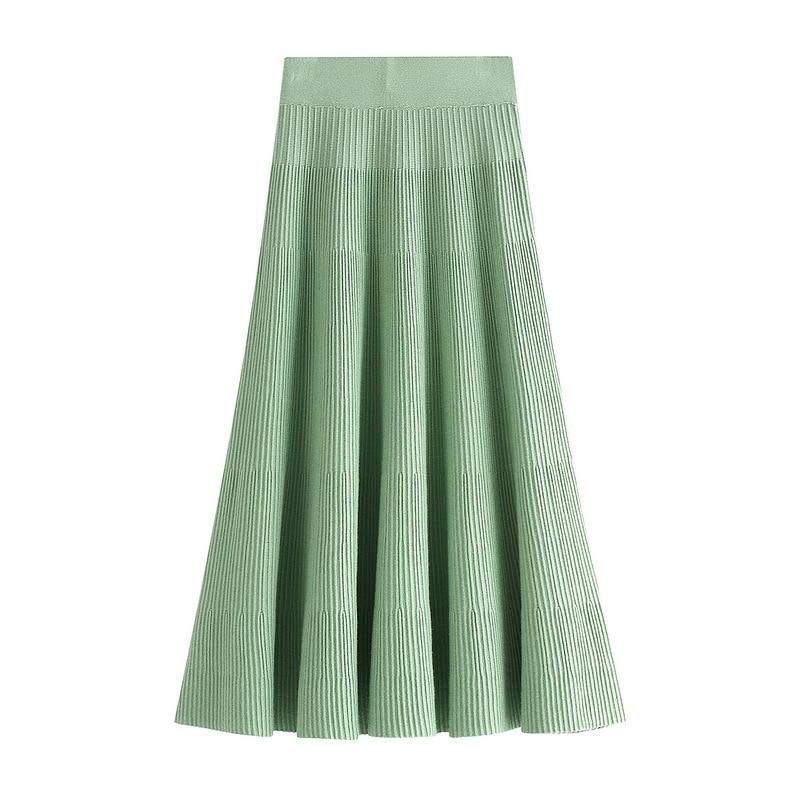 Sherhure 2019 Women High Waist Knitted A-Line Long Skirt Stretch Vintage Pure Color Women Winter Skirt Faldas Jupe Femme Saia