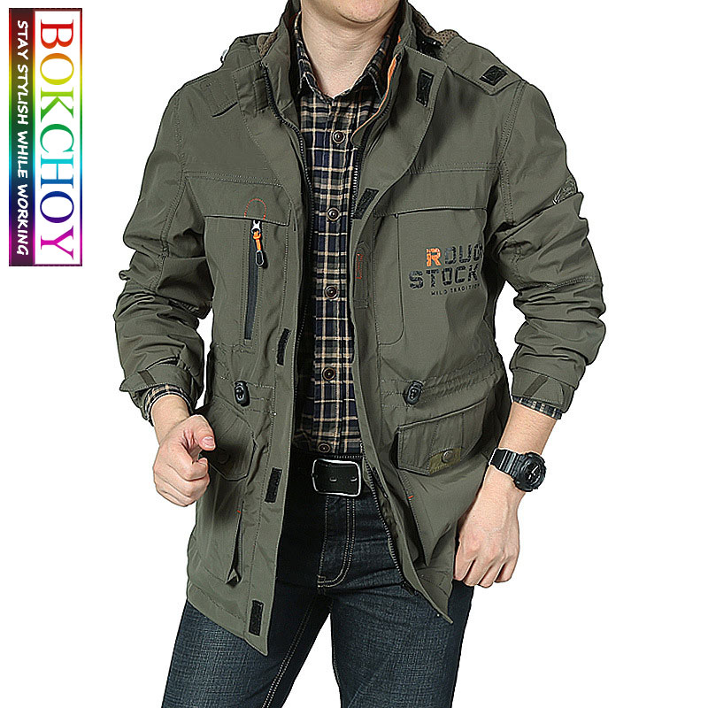 Bomber <font><b>Jacket</b></font> Men Autumn <font><b>Winter</b></font> Multi-pocket Waterproof <font><b>Military</b></font> Tactical <font><b>Jackets</b></font> Casual Windbreaker Mens Coat Outdoor Hooded image