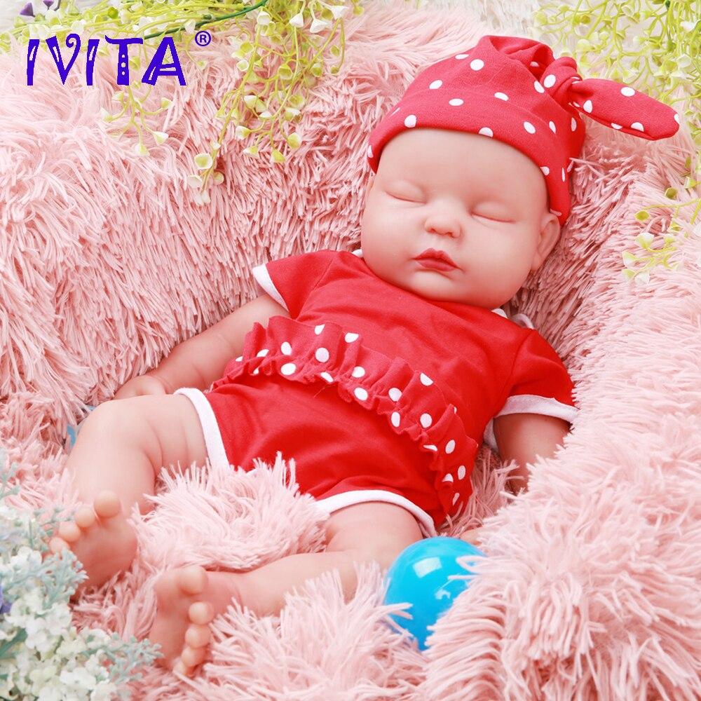 IVITA WG1510 47cm 3.67kg Girl Eyes Closed High Quality Full Body Silicone Reborn Dolls Born Alive Brinquedos Realistic Baby Toy