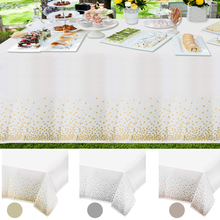 1/5PCS Disposable Tablecloth Gold Plastic Tablecover for Rectangle Table Wedding Christmas Birthday Dot Cover