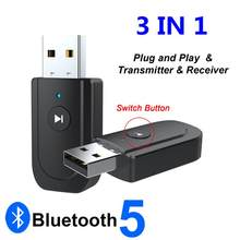USB Bluetooth 5.0 Adapter 3.5mm AUX BT Audio Receiver Transmitter Mini Audio Adapter For Car TV Speaker 3 In 1 Bluetooth Adapter