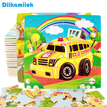 Hot Sell 16 Slice Vehicle Pattern Puzzle Wooden Small Piece Kid Toys Wood Jigsaw Puzzles