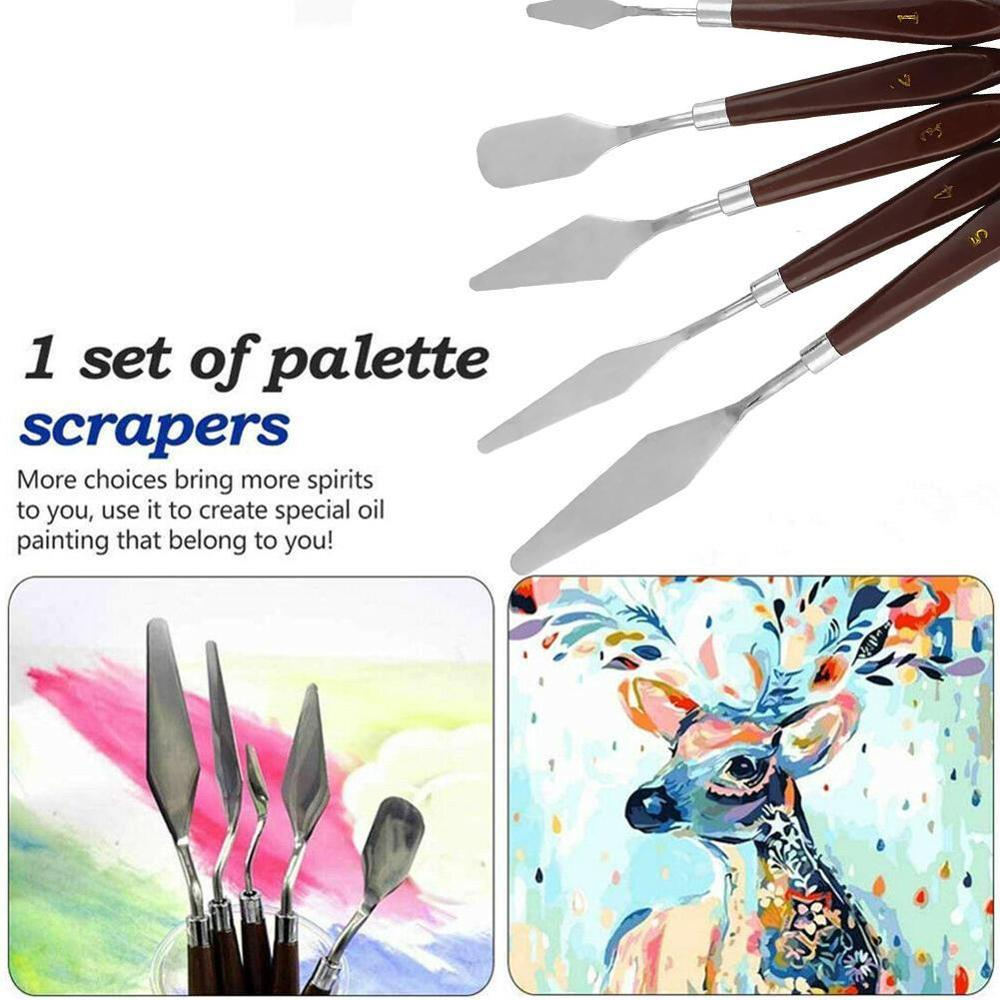 5PCS Professional Steel Spatula Kit Palette Knife for oil painting Fine Arts Painting Tool Set flexible blades