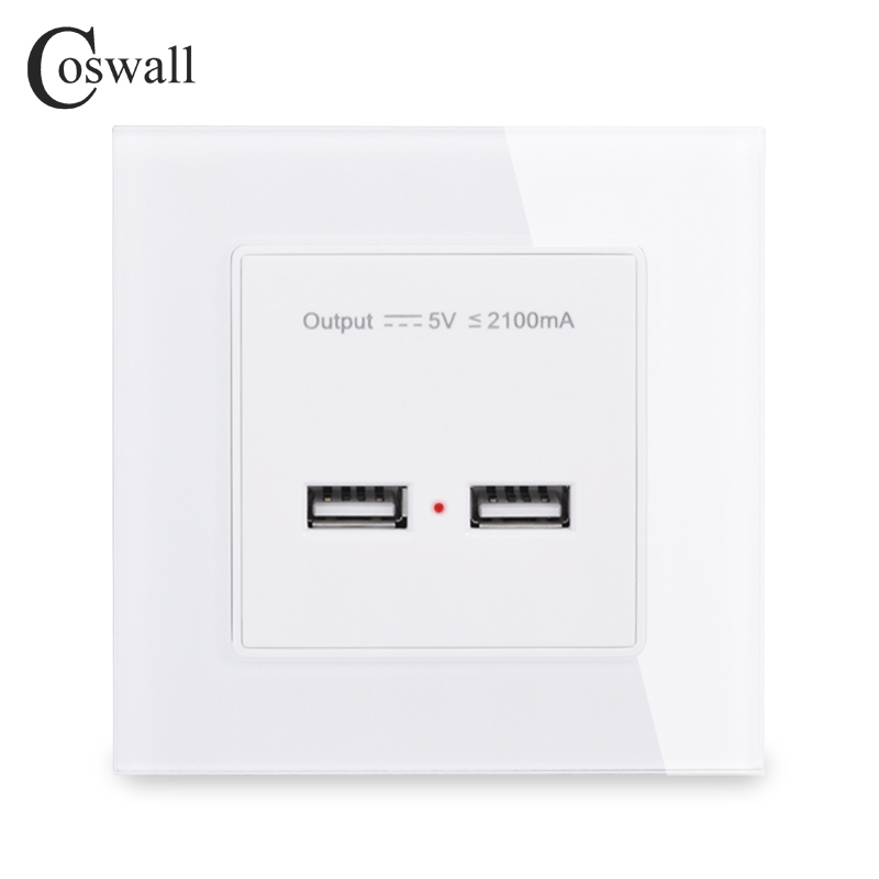 COSWALL Wall Power Socket Dual USB Smart Induction Charging Port For Mobile 5V 2.1A Output Crystal Tempered Glass Panel