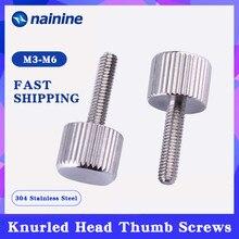 5 pces m2 m2.5 m3 m4 m5 m6 304 parafusos de polegar de aço inoxidável tipo liso métrica cabeça serrilhada parafusos de ajuste manual