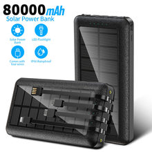 80000mah Solar Charger Portable Powerbank with Charging Line Fast Charging External Battery Poverbank for Samsung Xiaomi Iphone
