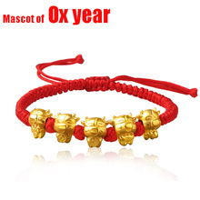 Bracelet Adjustable Jewelry Braided Good Cow-Charms Gift Golden Rope Mascot of Bring