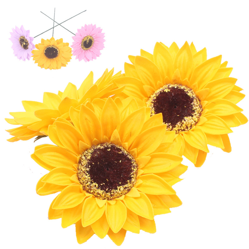 5PCS Eternal Flower Sunflower Flower Head Soap Flower Flower Shop Decoration Sun Flower Head Soap