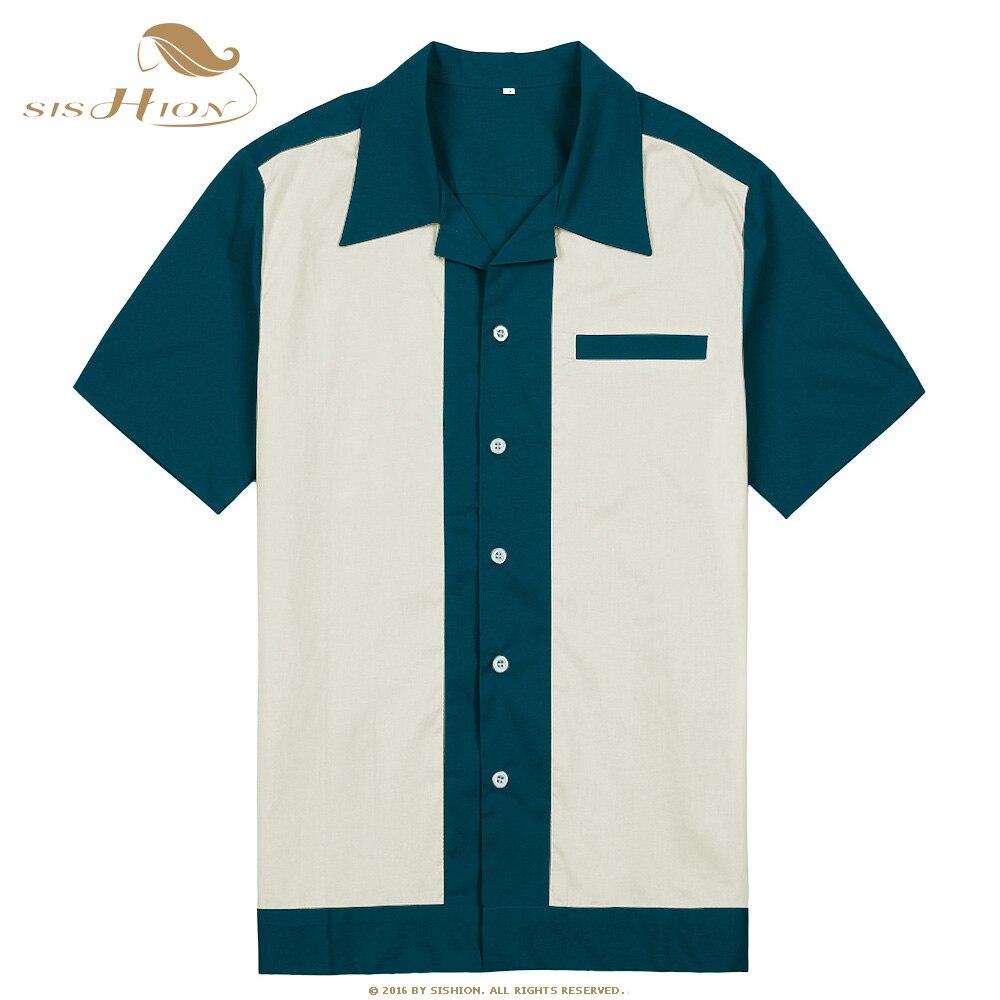 SISHION Men Casual Shirt ST111 Cotton Short Sleeve Grey Blue Green Vintage Rock Bowling Shirt 50s Male Clothing