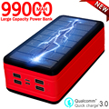 99000mAh Portable Solar Power Bank Large Capacity with LED Light Outdoor Travel Emergency Poverbank for Iphone Xiaomi Samsung