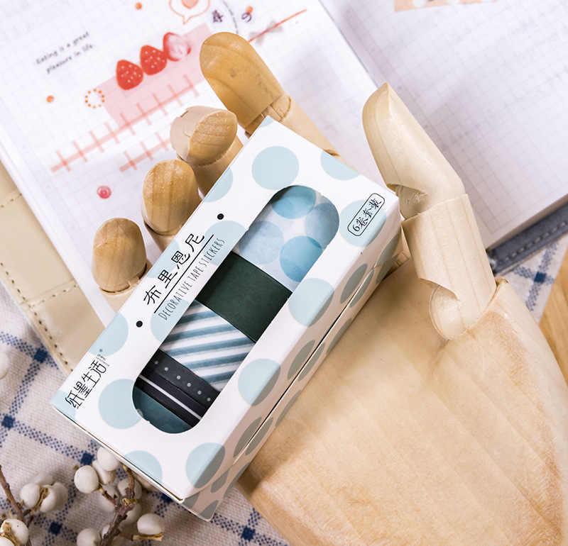 6 pz/set Griglia Washi Nastro Set Di Natale Decorativo Nastro del Nastro di Washi Vintage Griglia Maculato Anello di Base Del Modello Di Natale Nastro Adesivo