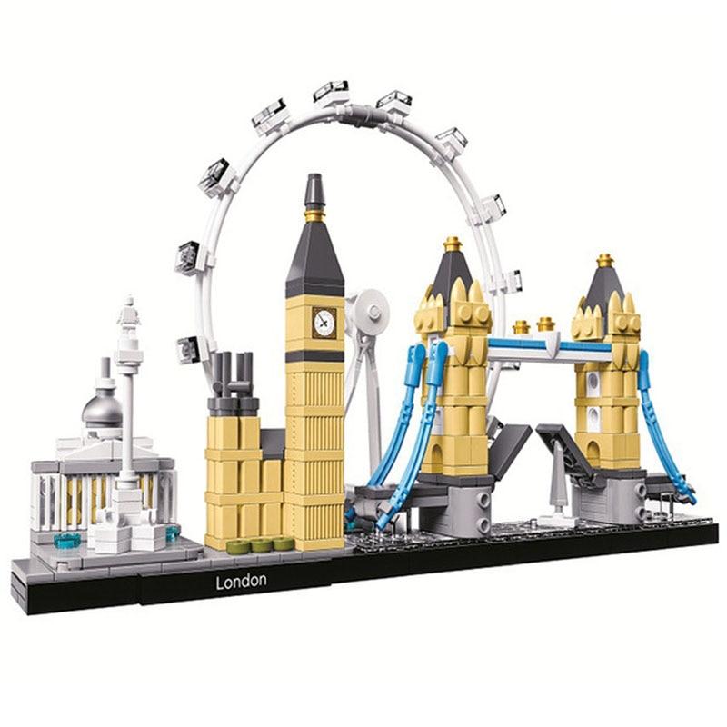 10678 Architecture Building Set London 21034 Big Ben Tower Bridge Model Building Block Bricks Toys Lepining Gifts